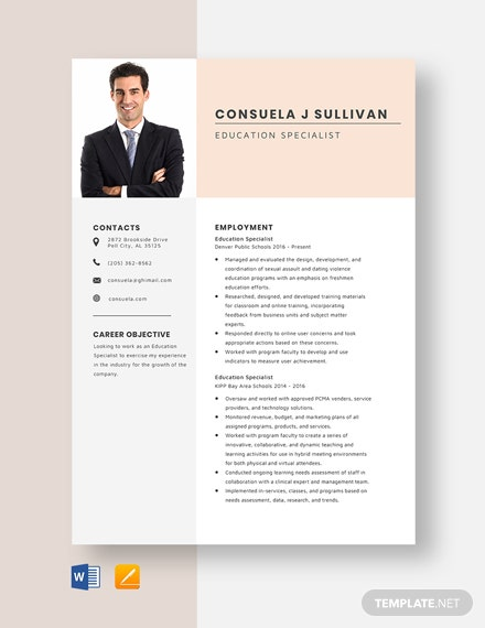 Education Specialist Resume Template