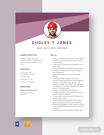 Heavy-Duty Diesel Mechanic Resume Template