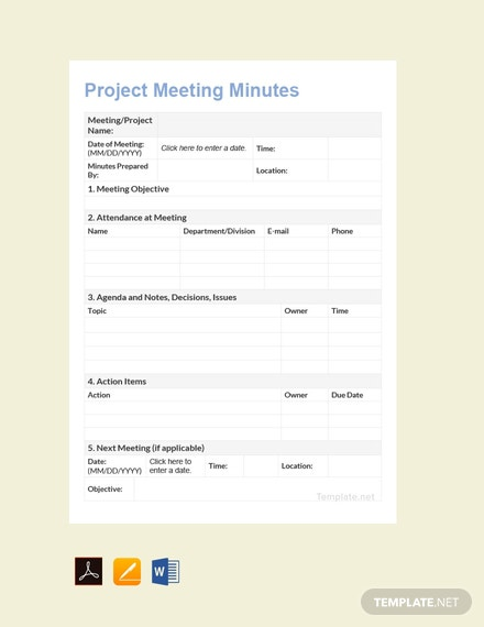 Free Project Meeting Minutes Template