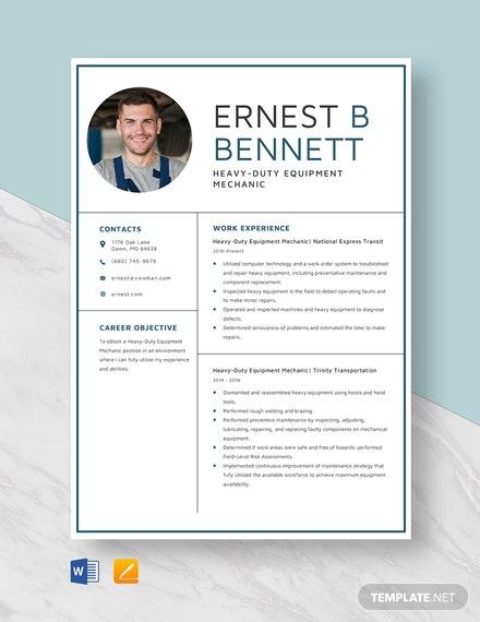 Heavy-Duty Equipment Mechanic Resume Template