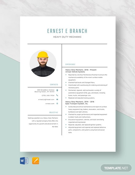 Heavy Duty Mechanic Resume Template