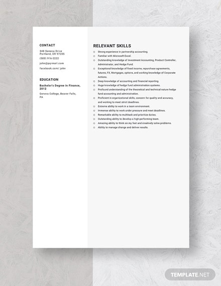 Hedge Fund Accountant Resume Template: Download 3294+ ...