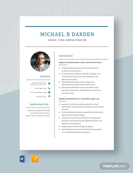 Hedge Fund Administrator Resume Template
