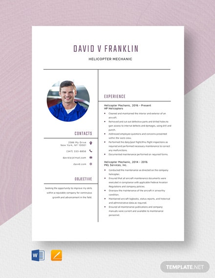 Helicopter Mechanic Resume Template