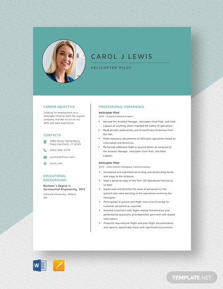 Helicopter Pilot Resume Template