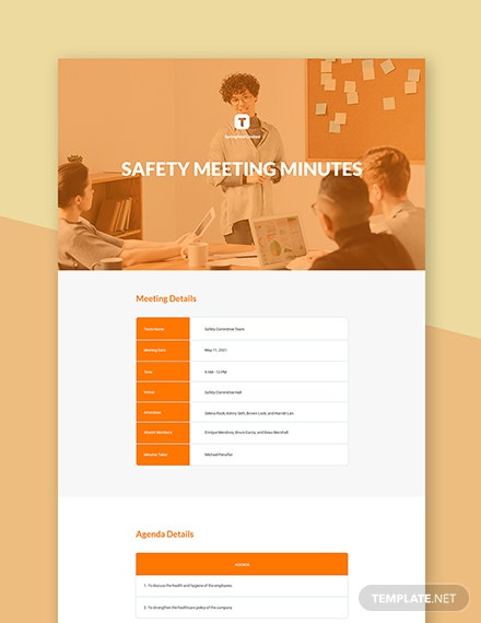 Free Safety Meeting Minutes Template
