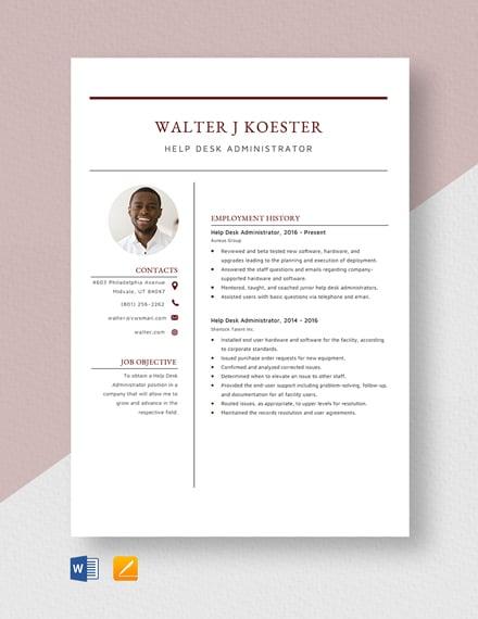 Help Desk Administrator Resume Template