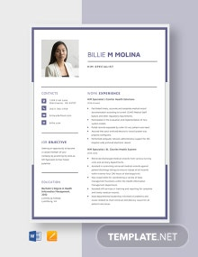 HIM Specialist Resume Template