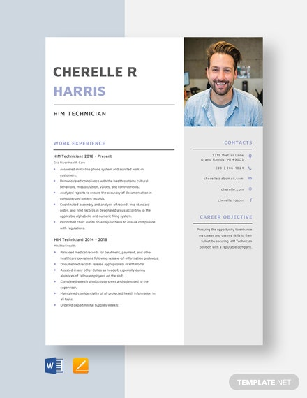 HIM Technician Resume Template