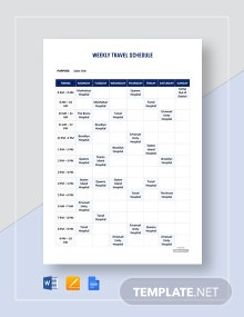 Free Weekly Travel Schedule Template