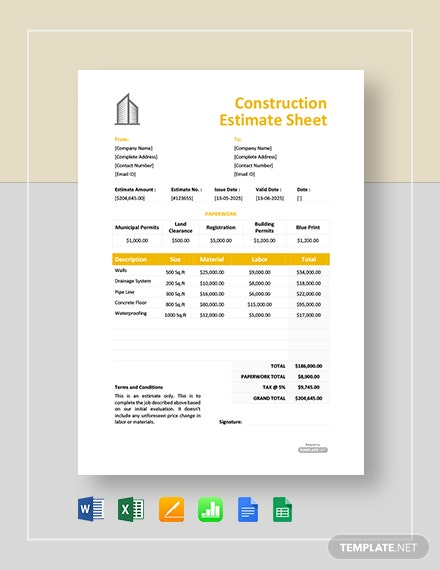 Free Construction Estimate Sheet Template