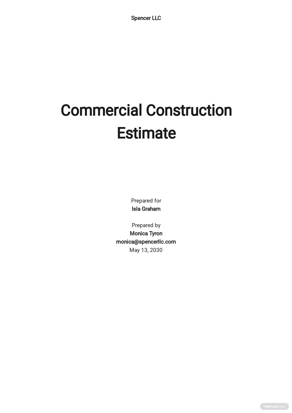 Construction Estimate Sheet Template