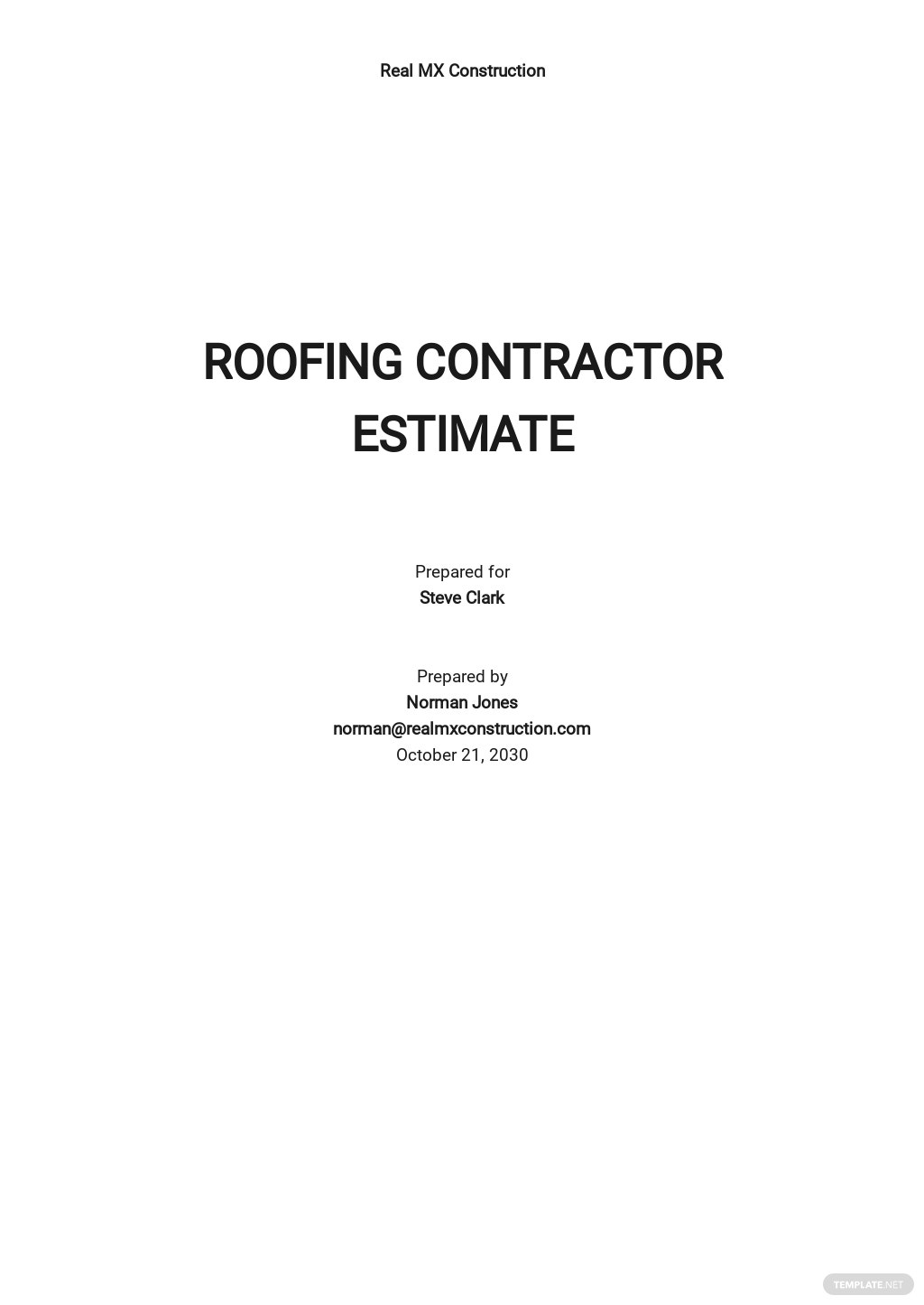 Contractor Estimate Sheet Template