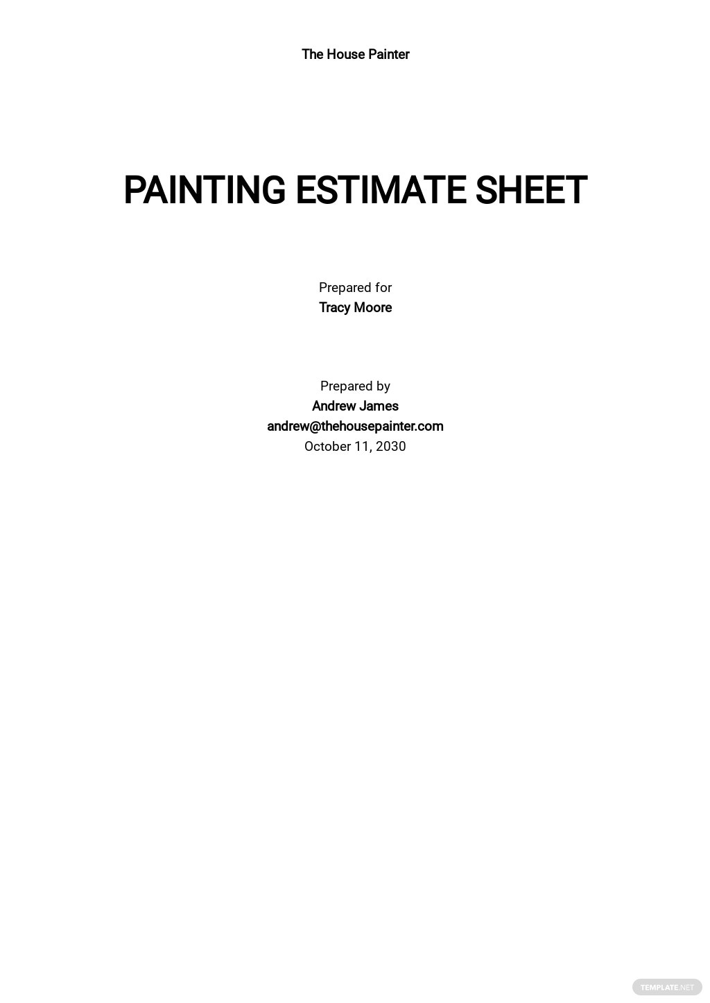 Painting Estimate Sheet Template