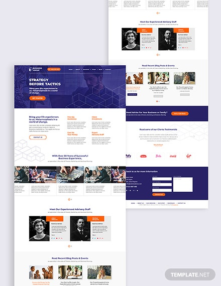 Business Adviser Bootstrap Landing Page Download