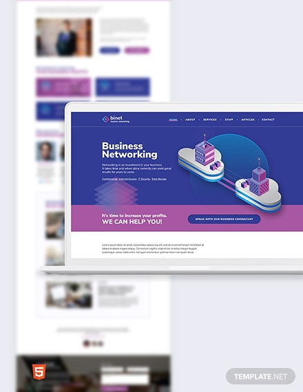 Business Networking Bootstrap Landing Page Template