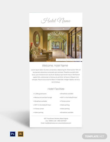 Luxury Hotel Rack Card Template
