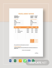 Free Travel Agency Company Invoice Template