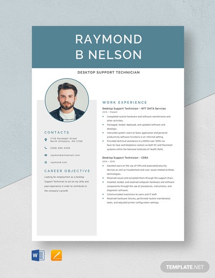 Desktop Support Technician Resume Template