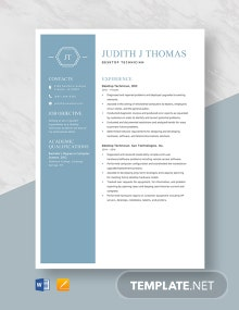 Desktop Technician Resume Template.