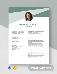 Field Officer Resume Template