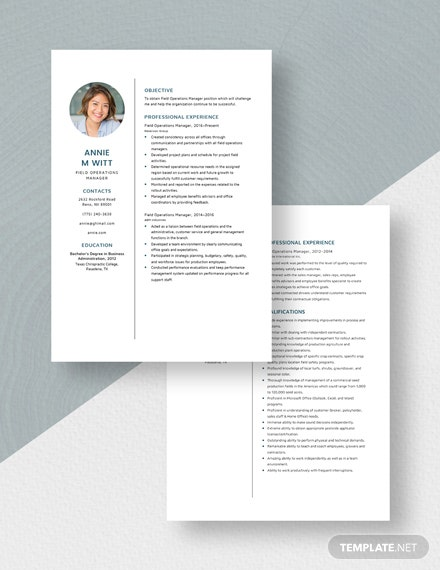 Field Operations Manager Resume  Download