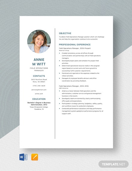 Field Operations Manager Resume Template