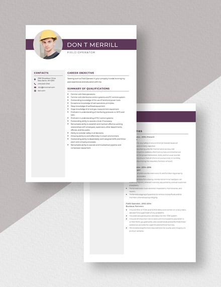 Field Operator Resume Download