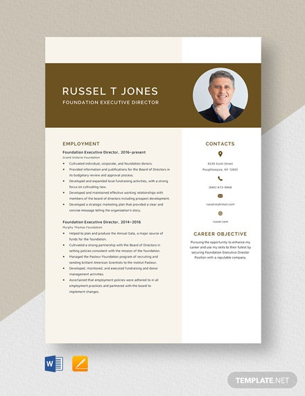 Foundation Executive Director Resume Template
