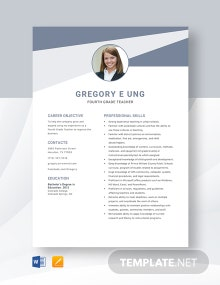 Fourth Grade Teacher Resume Template