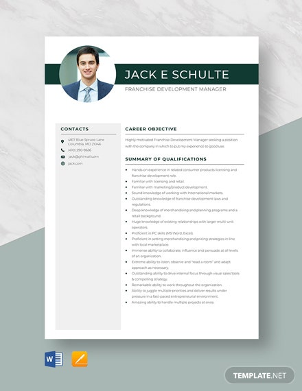 Franchise Development Manager Resume Template