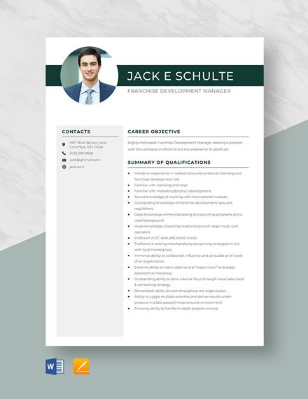Franchise Development Manager Resume Template
