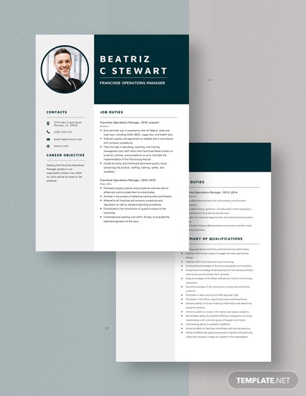 Franchise Operations Manager Resume  Download