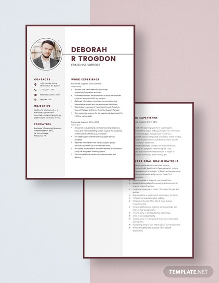 Franchise Support Resume Template [Free Pages] - Word, Apple Pages