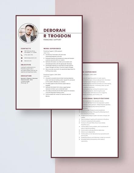 Franchise Support Resume Download