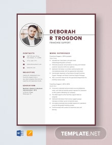 Franchise Support Resume Template