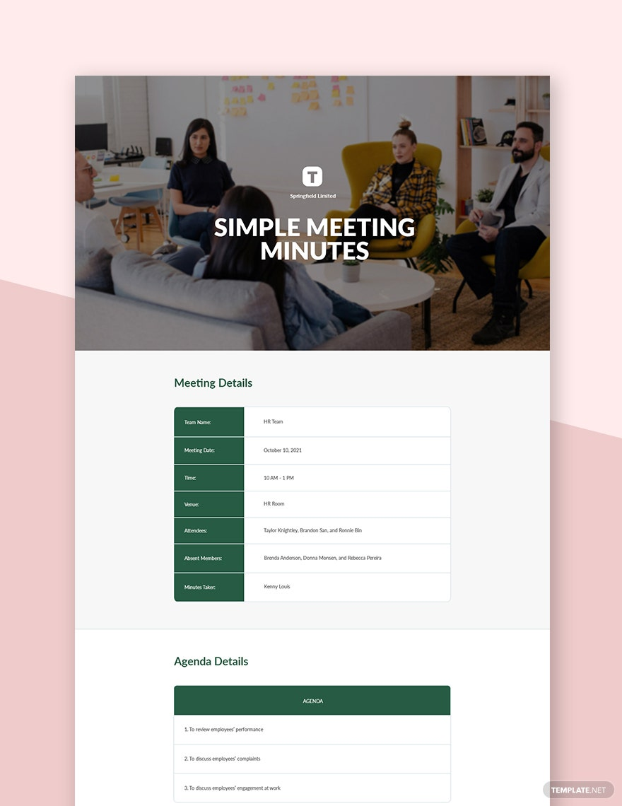 Free Simple Meeting Minutes Template