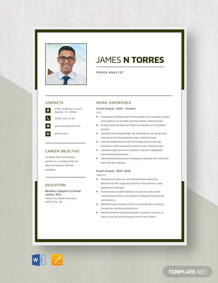 Fraud Analyst Resume Template
