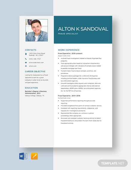 Fraud Specialist Resume Template