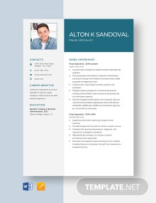 Fraud Specialist Resume Template