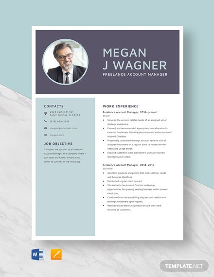 Freelance Account Manager Resume Template