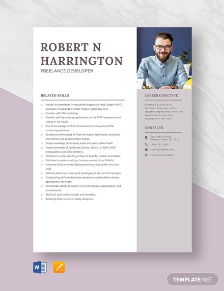 Freelance Developer Resume Template