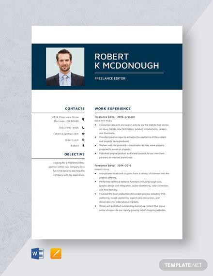 Freelance Editor Resume Template