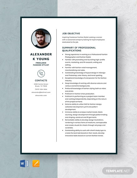 Freelance Fashion Stylist Resume Template