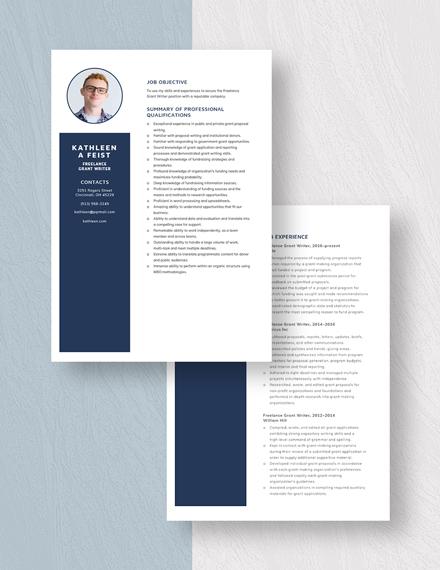 Freelance Grant Writer Resume  Download