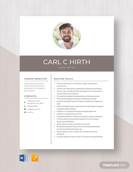 Game Artist Resume Template