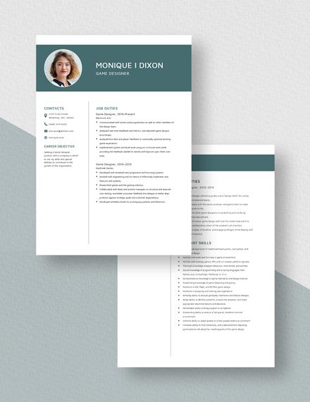 Game Designer Resume  Download