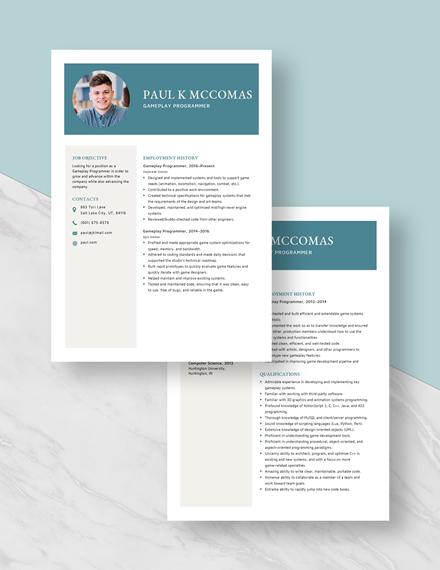 Gameplay Programmer Resume Download
