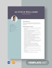 Gaming Manager Resume Template