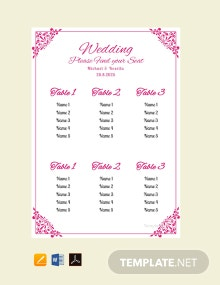 Free Bridal Shower Wedding Seating Chart Template